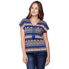 Yumi - Blue Printed Top With Tassels