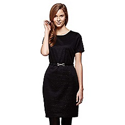 Yumi - Black Jersey Marl Print Wrap Dress With Belt