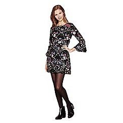Yumi - Black Bell Sleeved Floral Dress