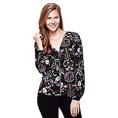 Yumi - Black Floral Zip Blouse
