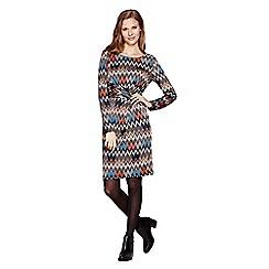 Yumi - Multicoloured  Long Sleeve Jersey Print Dress