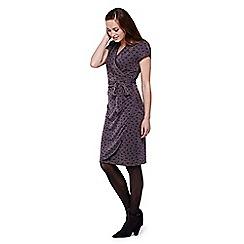 Yumi - Grey Short Sleeved Fern Wrap Dress