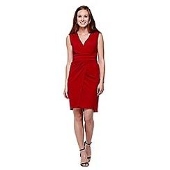 Yumi - Red  Sleeveless Wrap Around Dress