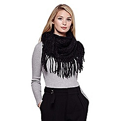 Yumi - Black  Chunky Knit Fringed Snood