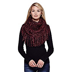 Yumi - Red  Chunky Knit Fringed Snood