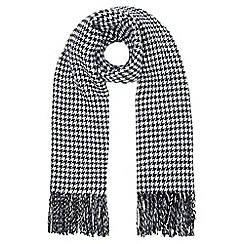 Yumi - Black  Stripe and Dogtooth Double Sided Scarf