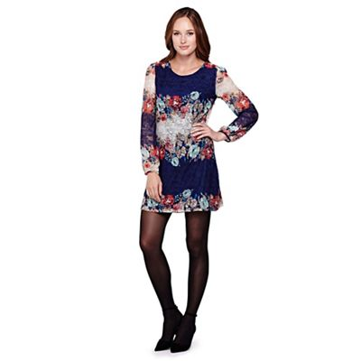 Yumi Multicoloured Floral Lace Long Sleeved Shift Dress - .