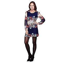 Yumi - Multicoloured  Floral Lace Long Sleeved Shift Dress