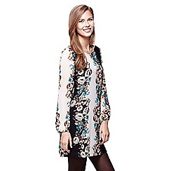 Yumi - black  Floral Printed Long Sleeve Tunic Dress
