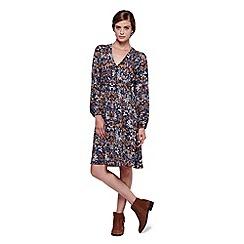 Yumi - Black Floral Long Sleeve Shift Dress