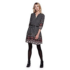 Yumi - Black Paisley Spotted Tunic Belt Dress