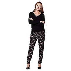 Yumi - Black Floral Tapered Front Pleat Trousers