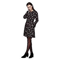 Yumi - Black Floral Printed Long Sleeve Shift Dress