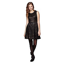 Yumi - Black Gold Floral Print Sleeveless Dress