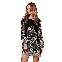 Yumi - Black floral border shift dress