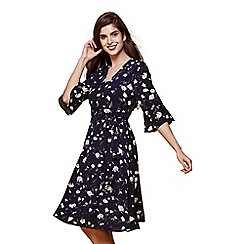 Yumi - Blue floral print wrap tie dress
