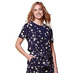 Yumi - Blue floral short sleeve top