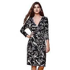 Yumi - Blue bird printed wrap dress