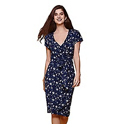 Yumi - Blue floral printed wrap dress