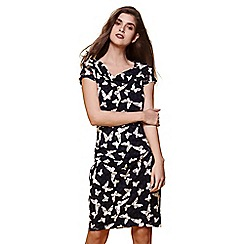 Yumi - Blue butterfly print cowl neck dress
