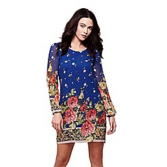 Yumi - Blue floral border tunic dress