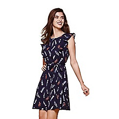 Yumi - Blue feather print frill sleeve day dress