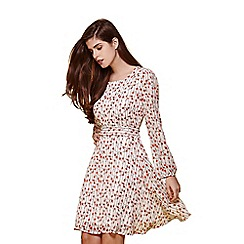 Yumi - White floral long sleeve day dress