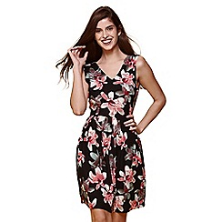 Yumi - Black floral skater dress