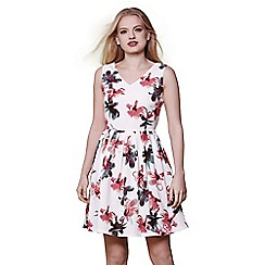 Yumi - White floral skater dress