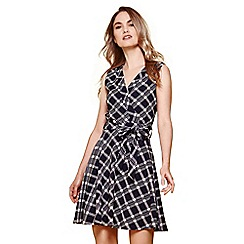 Yumi - Navy chequered wrap front dress