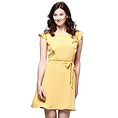 Yumi - Yellow line frill sleeve day dress