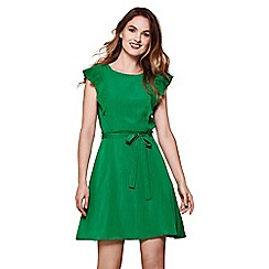 Yumi - Green line dress with frill sleeve