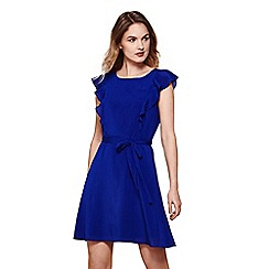 Yumi - Blue line dress with frill sleeve