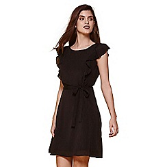 Yumi - Black line dress with frill sleeve