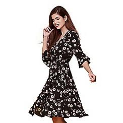 Yumi - Black floral print wrap dress
