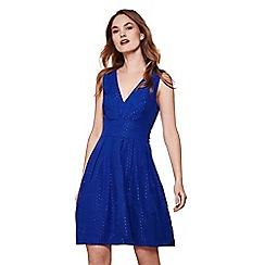 Yumi - Blue v neckline skater dress