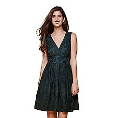 Yumi - Green floral lace v neckline dress
