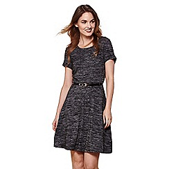 Yumi - Black yumi belted jersey dress
