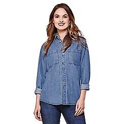 Yumi - Blue denim button-through shirt