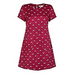 Yumi - Red swallow bird print 'Cassidyá' mini tunic dress