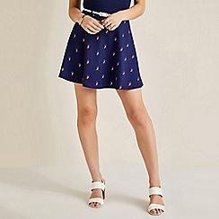 Yumi - Blue owl print skater skirt