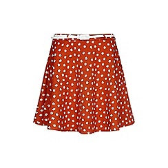 Yumi - Orange floral daisy print skirt