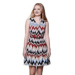 Yumi - Multicoloured zigzag sleeveless skater dress