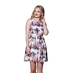 Yumi - White wild rose skater dress