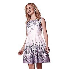 Yumi - Brown floral print skater dress