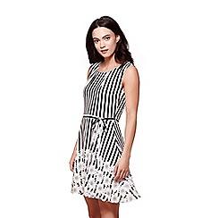 Yumi - Multicoloured floral & stripe print skater dress