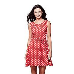 Yumi - Red sleeveless spot print skater dress