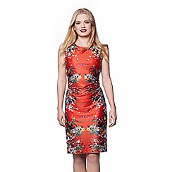 Yumi - Red cascading floral mirrored jersey dress