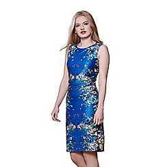 Yumi - Blue cascading floral mirrored jersey dress