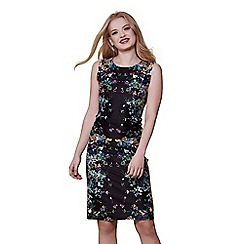 Yumi - Black cascading floral mirrored jersey dress